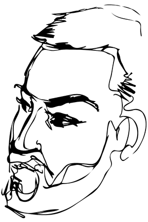 Black and white vector sketch of a serious man with a beard