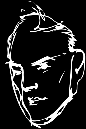 Black and white vector sketch adult serious man