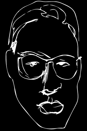 Black and white vector sketch of a serious man in glasses with lush lips