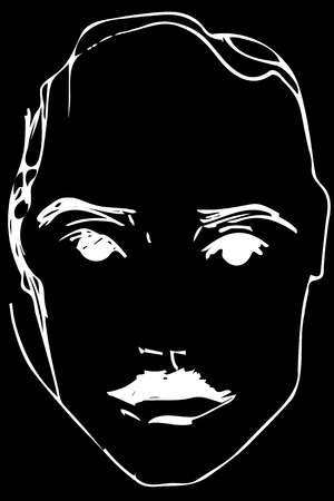 Black and white vector sketch of a young man with a mustache