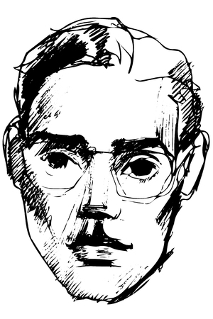 Black and white vector sketch of a young guy in glasses with sad eyes