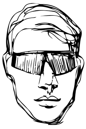 Black and white vector sketch of a young man in sunglasses