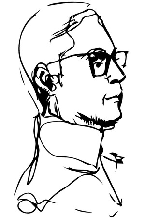shortsighted: Black and white vector clipart adult man with glasses in profile