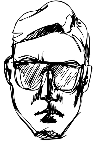 Black and white vector sketch for a portrait of a man in sunglasses