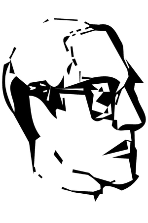 Black and white vector sketch for portrait of a mans profile with glasses