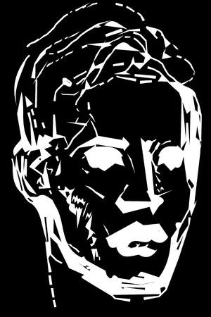 brow: Black and white vector sketch for a portrait of a young man