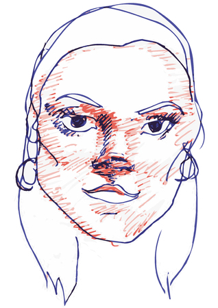 earrings: Vector sketch of beautiful blue girl and red ballpoint pen