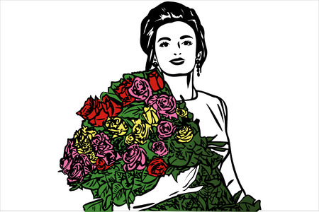 Black and white vector sketch of a beautiful girl with a bouquet of roses