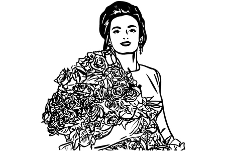 ear bud: Black and white vector sketch of a beautiful girl with a bouquet of roses