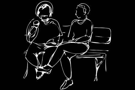 Black and white vector sketch two men sit on a park bench