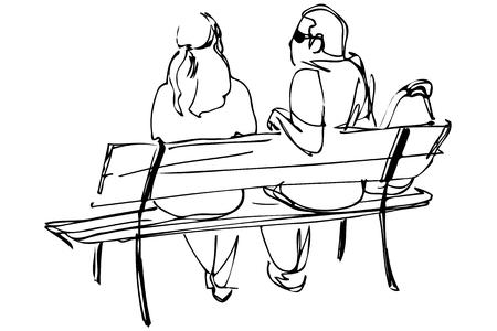 Zwart-witte vector schets van een jong stel op een bankje zitten