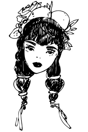 Black and white sketch of girl with decoration in hair