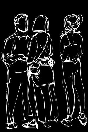 black and white vector sketch group of young people Illustration