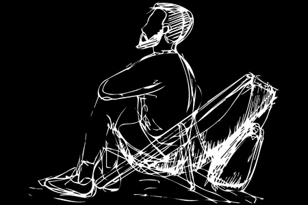 black and white vector sketch of a young man with a beard sitting in a deckchair Иллюстрация