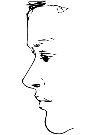 A black and white vector sketch for portrait of a young mans profile Illustration