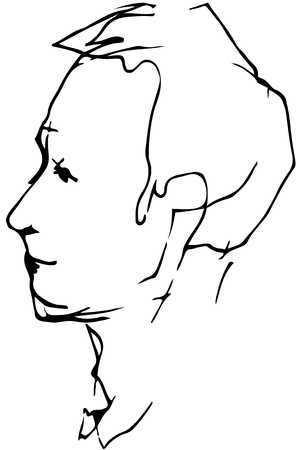 black and white vector sketch for a portrait of a young mans profile