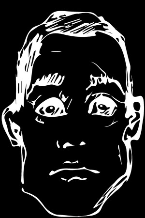 black and white vector sketch for a portrait of a young man