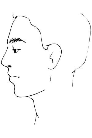 Black and white man sketch.