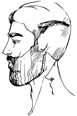 black and white vector sketch for a portrait of a man with a beard Illustration