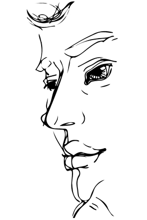 black and white vector sketch for a portrait of a man with big lips