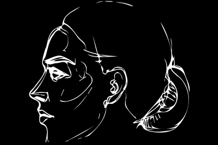 black and white vector sketch of a beautiful woman in a profile Illustration