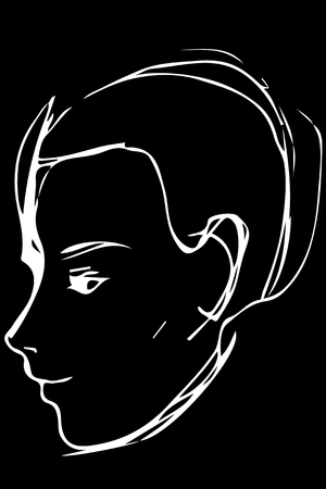 Black and white vector sketch portrait of a young man.