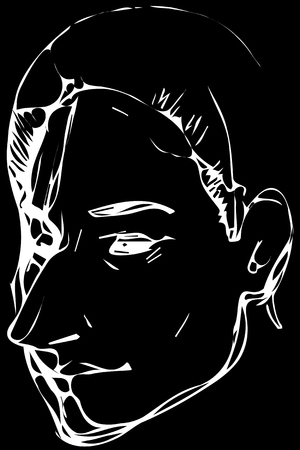 Black and white vector sketch for a portrait of an adult woman