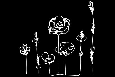 꽃의 추상적 인 이미지 양 귀 비와 잔디 필드입니다. 일러스트