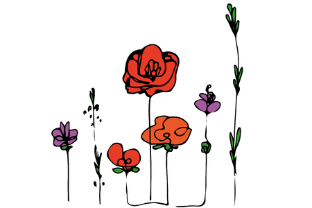 Abstract image of flowers field poppies and grass. Illustration