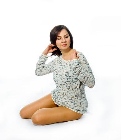 Portrait of a beautiful adult brunette woman Banque d'images