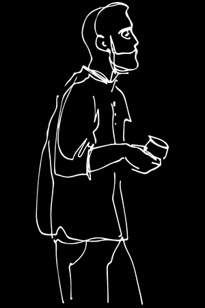 black and white vector sketch of a man with a beard drinking coffee