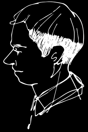 Black and white vector sketch of a man profile