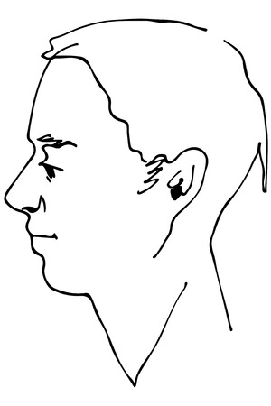 Black and white vector sketch of a beautiful man profile.