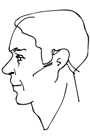 black and white vector sketch of a beautiful man profile