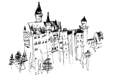 Black and white vector sketch of a high medieval castle