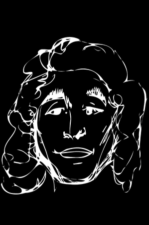 black and white vector sketch of a handsome young man