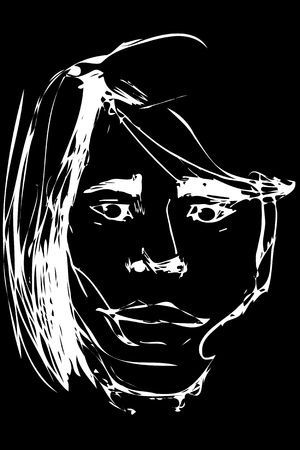 An abstract white vector sketch of a handsome young man on a black background. Illustration