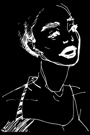 black and white vector sketch of a beautiful girl with open mouth