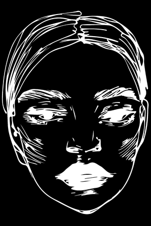 An abstract black and white vector sketch of beautiful girl Illustration