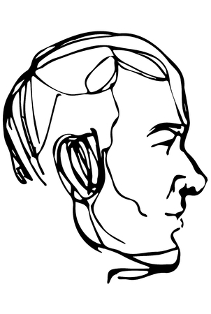 black and white sketch portrait profile of an elderly man