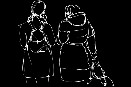 black and white vector sketch two girls with a backpack and suitcase
