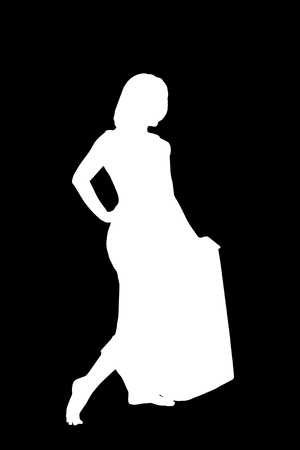 Black and white vector sketch to the silhouette of barefoot girl