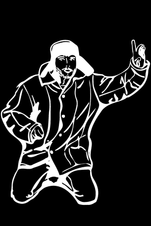 black and white vector sketch man in a winter hat raised a finger to the top attention Stock Illustratie