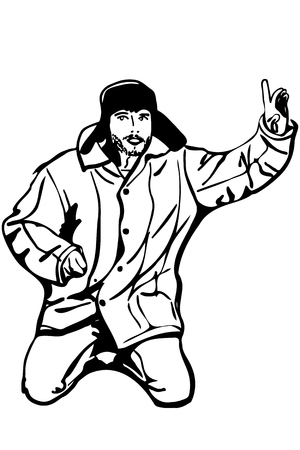 black and white vector sketch man in a winter hat raised a finger to the top attention Illusztráció