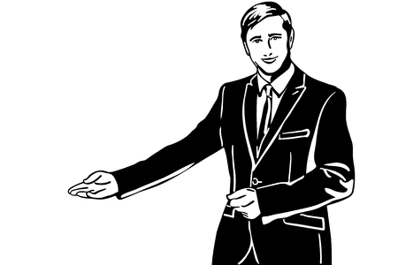 black and white vector sketch of a man in a suit invites with his hand Vector Illustratie