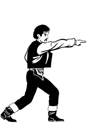 black and white vector sketch of a man points a finger