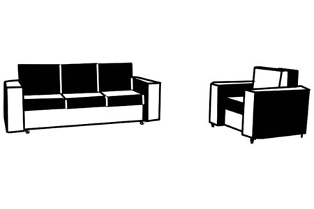black and white vector sketch of armchair and sofa on wheels Иллюстрация