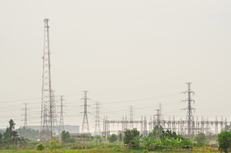 electric tower in countryside photo