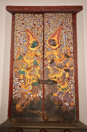 ramayana painting door in thai temple, bangkok, thailand