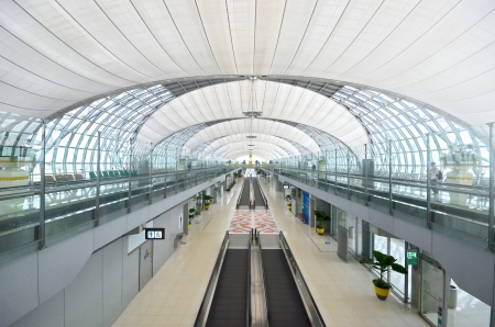 walkway in suvarnabhumi airport, bangkok, thailand